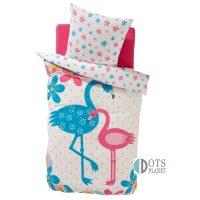 posciel bawelniana dla dzieci 140x200 ptaszki flamingi