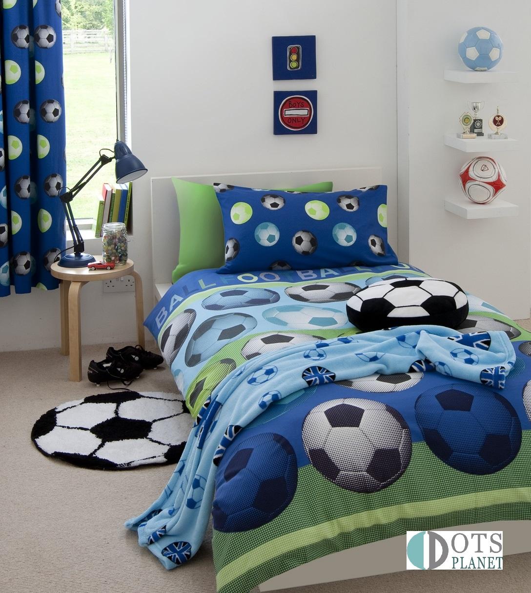 Childrens Football Bedroom Ideas: Pościel Niebieska Piłka FOOTBALL 140x200
