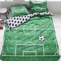 soccer green pościel bawełniana z piłką dla chłopca piłkarza kibica zielona 140x200