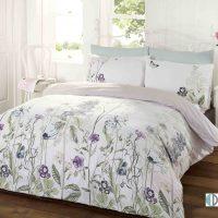 art memoir teal pościel 220x200 wzór roślinny kwiaty pole szary fioletowy biały