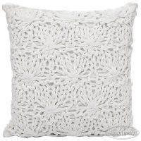 biała poduszka dekoracyjna ekskluzywna szydełkowa EVA3 40x40 eurofirany
