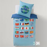 pościel dla dzieci i młodzieży nastolatków z flagami państw podróżnika