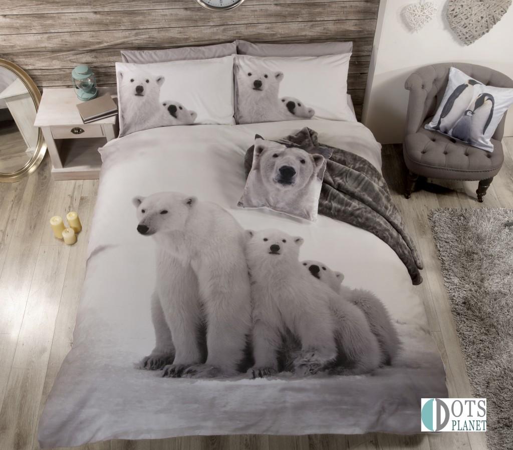 pościel z misiem polarnym white bear biało szara skandynawska na zimę i święta