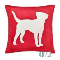 Hounds poduszka 43x43 welurowa dla dzieci dekoracyjna czerwona z pieskiem psem