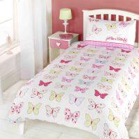 pastelowe motyle posciel dla dziewczynki kolorowa na prezent 140x200