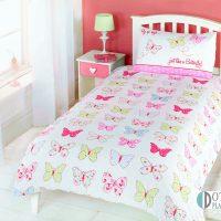 pościel dla dziewczynki pastelowe motyle motylki słodka 140x200