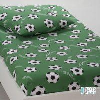 prześcieradło piłki zielone 90x190 bawełniane z gumką dla piłkarza chłopca