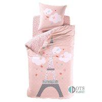 różowa pościel dziecięca z wieżą Eiffla Paris paryż francuska 140x200 bawełniana
