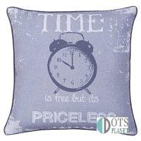 time is priceless poduszka dekoracyjna z wypełniniem szara 43 x 43 młodzieżowa