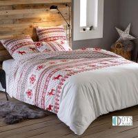 czerwone renifery pościel bawełniana świąteczna skandynawski styl 140x200 200x200 220x200 240x220 biała