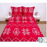 pościel flanelowa świąteczna czerwona 160x200 bawełniana ciepła młodzieżowa na zimę jesień