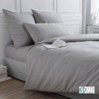 szara pościel do sypialni bawełniana z delikatnym wzorem w kropki i paski