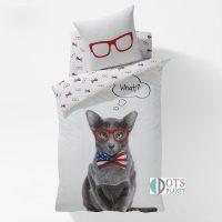 pościel bawełniana z kotem w okularach 140x200