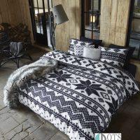 pościel swiateczna na zime skandynawski style sweterkowy wzor norweski flanelowa ciepla na jesien prezent na boze narodzenie 200x220 Ontario Black_Sfeer