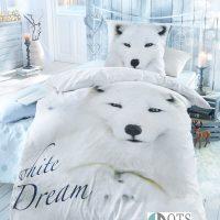 pościel white fox zimowa śniej zwięrzeta swiąteczna 140x200 bawełniana posciel mlodziezowa posciel dla dzieci