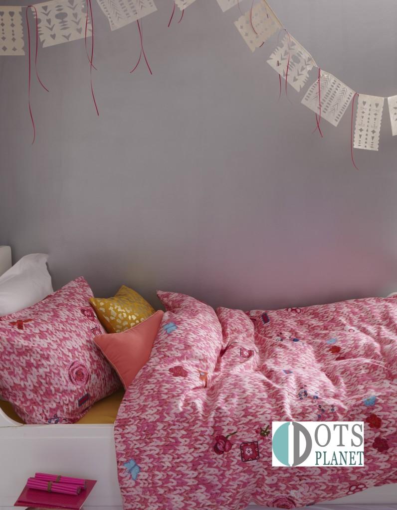 pościel z flaneli bawełniana różowa ciepła dla nastolatki Knitty Pink_Sfeer