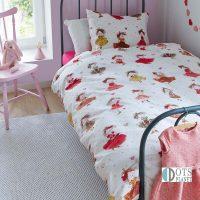 posciel dla malej dziewczynki 140x200 z wrozkami i dziewczynkami zywe kolory biala koralowa beddinghouse cute princess