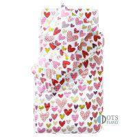 prześcieradło dla dziewczynki 90x190 w serca kolorowe bawełniane