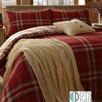 pościel kelso red czerwona krata szkocka tartan swiateczna zimowa 140x200 200 x200