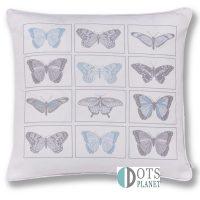 poduszka z motylami turkusowamy i szarymi