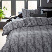 lano grey posciel flanelowa grafitowa splot sweterkowy 240x220