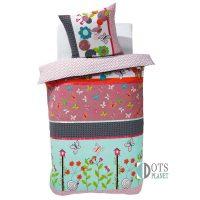 kwiatki i motylki kolorowa pościel dla dziewczynki z bawełny 140x200