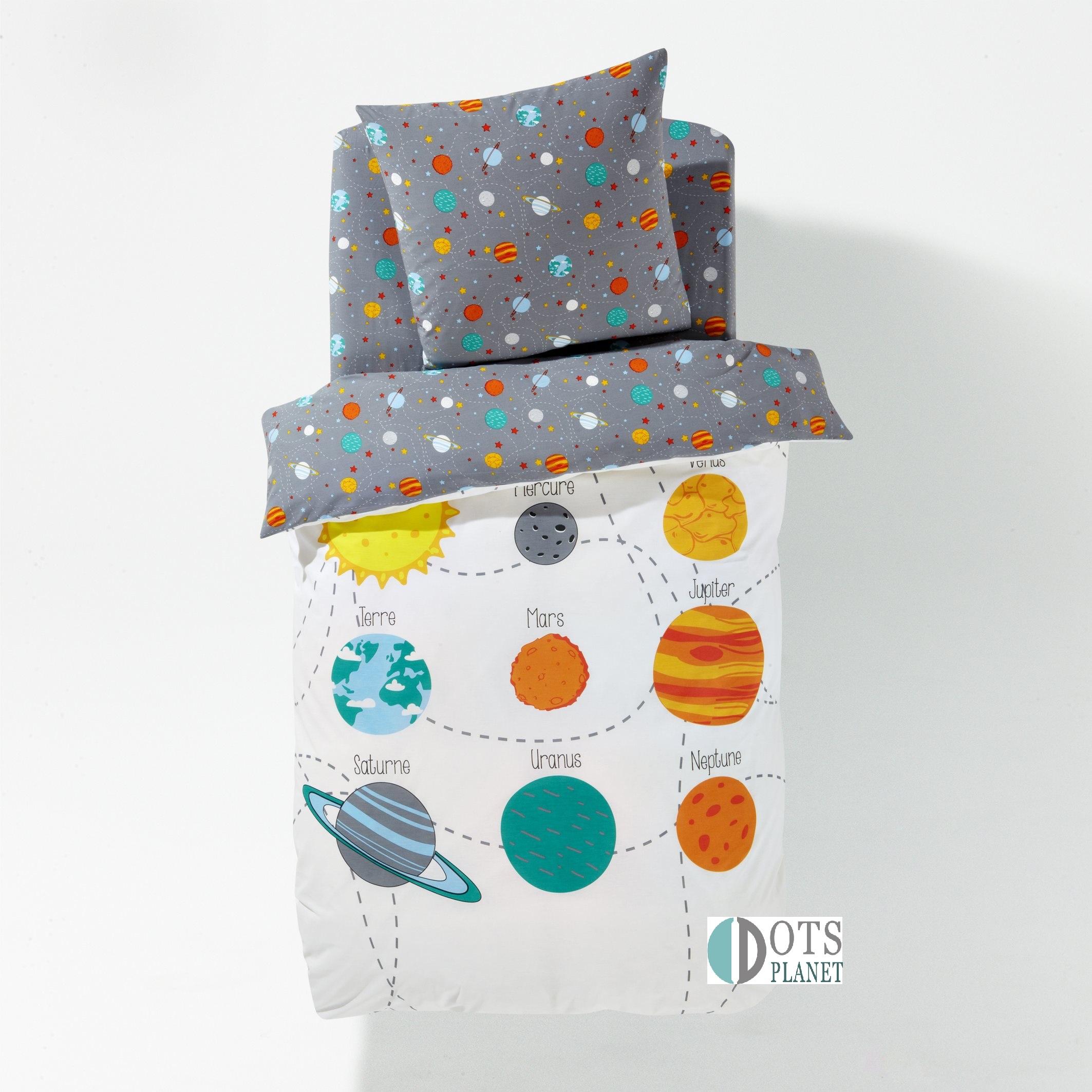 pościel dziecięca bawełniana 140x200 kolorowy układ planetarny