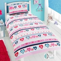 posciel dla dziewczynki w rozowe i niebieskie serca slodka i urocza 140x200 kolorowa i dobra gatunkowo