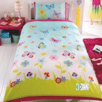 posciel dla malej dziewczynki 140x200 z kwiatkami i motylkami bardzo kolorowa zywe kolory slodka wiosenna