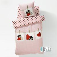 słodki piesek z serduszkami pościel dla dziewczynki różowa bawełniana 140x200