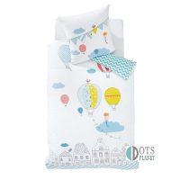 pościel dla dzieci z balonikami 140x200 dla przedszkolaka dla trzylatka kolorowa i pastelowa naturalna tkanina