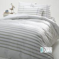 posciel bawełniana w paski w stylu marynarkism marynistycznym szaro biała stripes grey 140x200 200x200 bawełniana