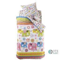 pościel dla dzieci ze słonikami 140x200 dla przedszkolaka dla trzylatka kolorowa i pastelowa naturalna tkanina