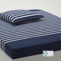przescieradlo z gumka bawełniane 90x190 90x200 na standardowy materac stripes dark blue