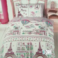 jadore paris pościel dla dziewczynki dzieci paryż 140x200 pastelowe kolory miasto dotslanet sklep online pościel