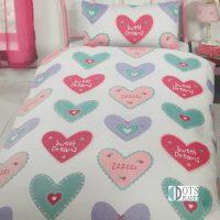 pościel hearts serca kolorowe żywe kolory dla dziewczynki dziecięca 140x200 różowa turkusowa biała
