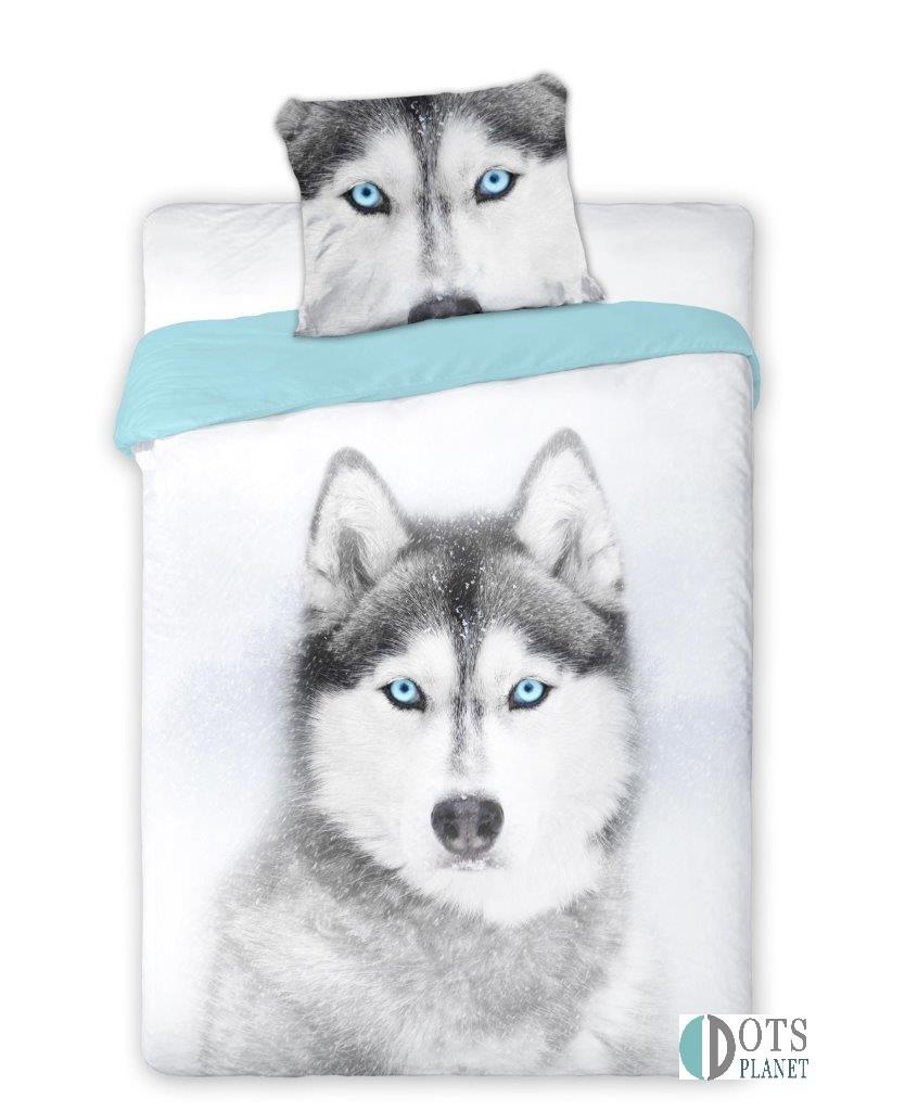 Pościel bawełniana zwierzęta skandynawskim stylu z psem pies 160x200 140x200+70x90 WILD HUSKY EAN 5907750543144