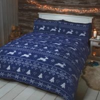bergen blue niebieska posciel flanelowa bawelniana na zime i swieta swiateczna na prezent z jelonkami 140x200 200x200 220x200 sklep online