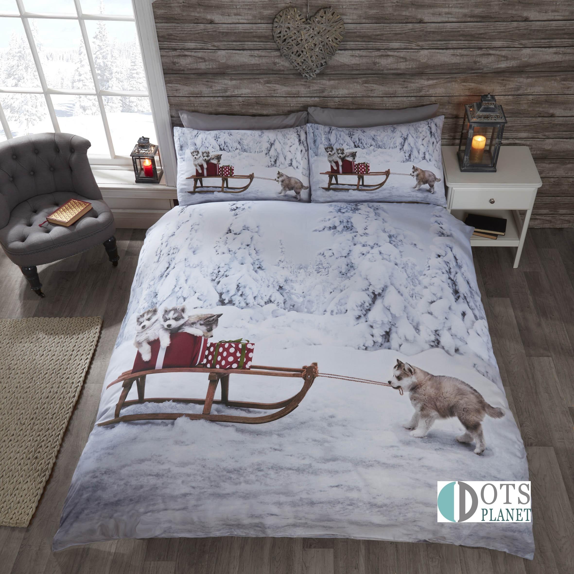Zabawna Pościel Na świąteczny Prezent 140x200 Huskies