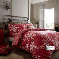flanelowa-czerwona-posciel-w-kwiaty-i-kratke-canterbury-dark-red