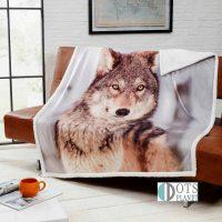 narzuta na łózko ciepły koc wolf młodziezowy szary z wilkiem 130x160 sklep z posciela
