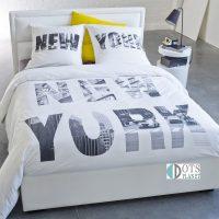 biało szara pościel bawełniana nowy jork new york dla młodzieży 140x200