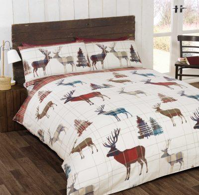 Dwustronna pościel z jeleniami Winter Stag RED