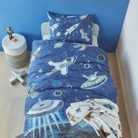 space blue posciel z kosmosem dla chlopca niebiseka blektina planety 140x200 swietna jakosc
