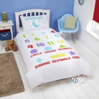 Bedtime Learning dwustrona pościel dla dzieci z literkamiz logo