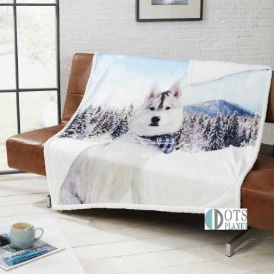 husky sherpa dwustronny ciepły koc pies husky na prezent dla nastolatka