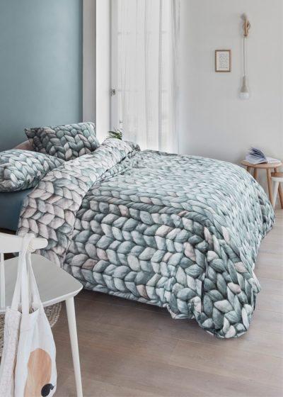 warmly grey green zielona flanelowa posciel na jesien i zime sweterkowa 140x200 200x200 220x200 220x240