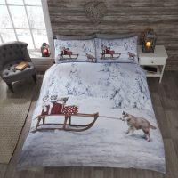 Huskies posciel swiateczna z pieskami psy husky zima snieg młodzieżowa 140x200