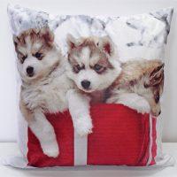 poduszka dekoracyjna huskies welurowa swiateczna psy 43x43 miekka