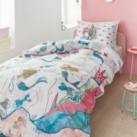 posciel dla dziewczynki bawelniana z syrenka mermaids 140x200 niebiesko rozowa